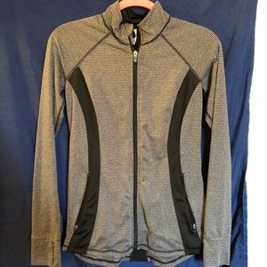 Jackets & Blazers - Gray and Black Striped Athletic Jacket